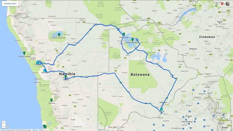 Trasa podróży po Namibii