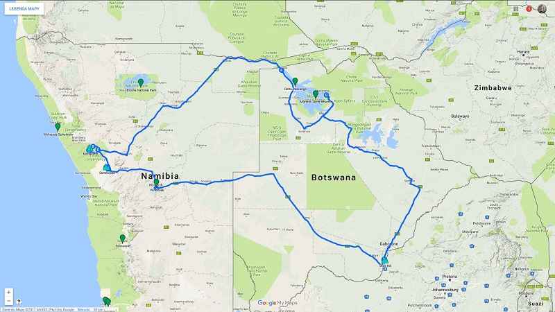 Botswana - informacje praktyczne - trasa podróży po Botswanie