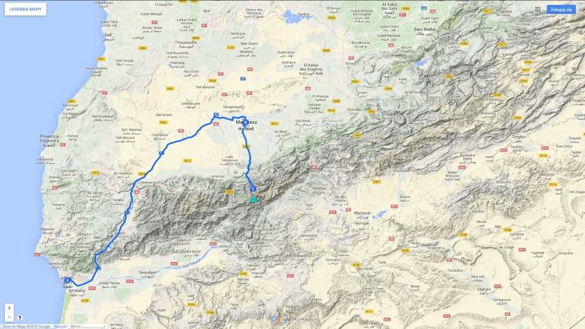 Zarys trasy wyprawy do Maroka