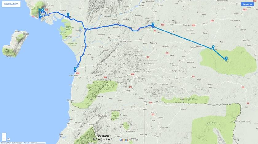 Trasa mojej podróży do Kamerunu