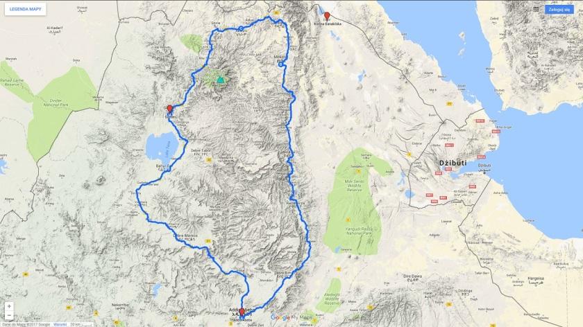 Trasa podróży do Etiopii