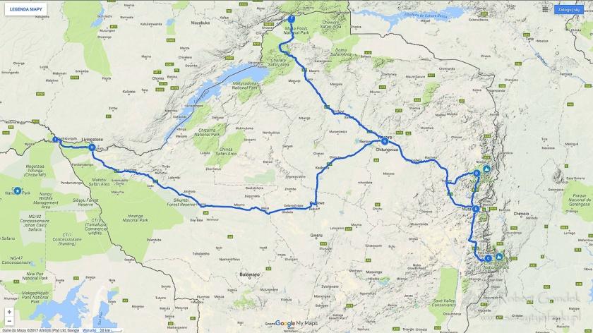 Trasa podróży po Zimbabwe